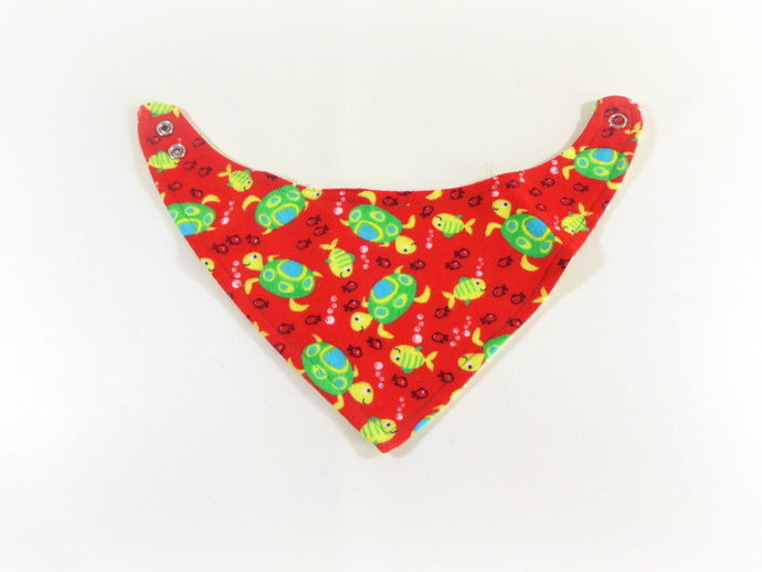 Reversible Infant Bandanna Bib, Bandanna Scarf, Drool Bib in Turtles and Gingham
