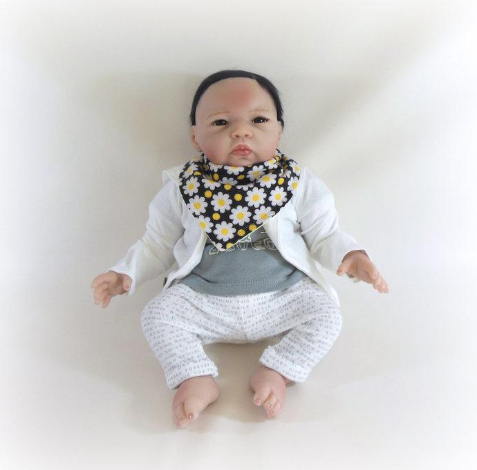 Reversible Infant Bandanna Bib, Bandanna Scarf, Drool Bib in Flowers and Gingham