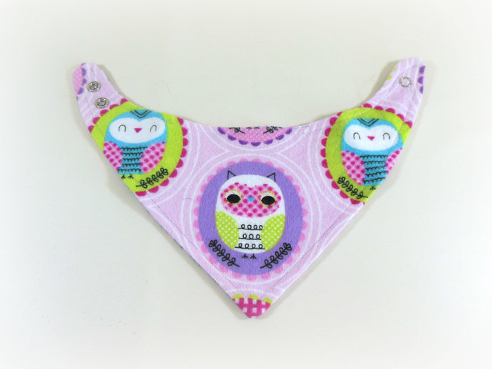 Reversible Infant Bandanna Bib, Bandanna Scarf, Drool Bib in Owls and Flower