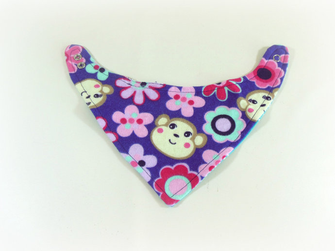 Reversible Infant Bandanna Bib, Bandanna Scarf, Drool Bib in Monkeys and Paisley