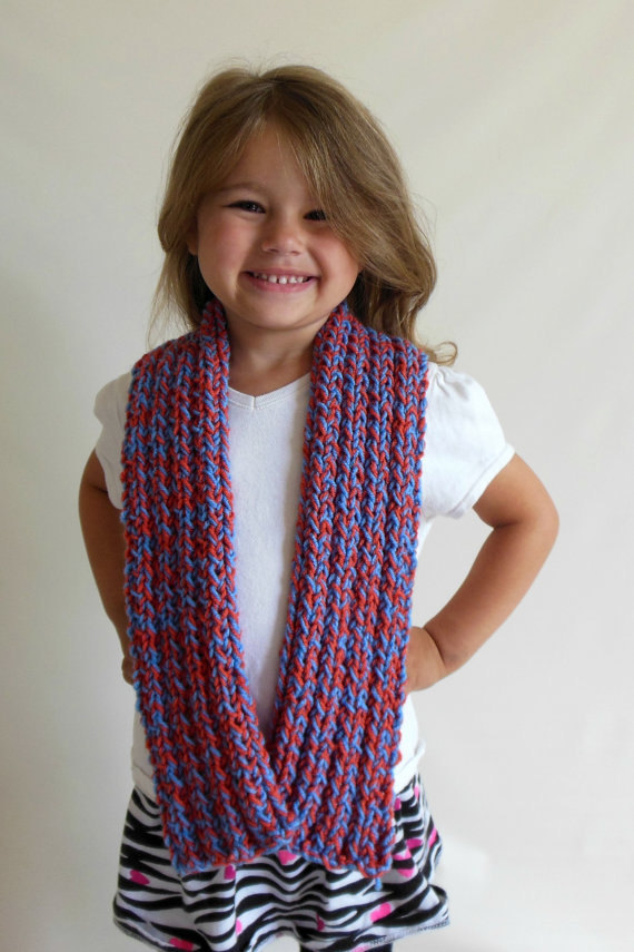 RTS Ribbed Double Knit Scarf in Toddler/Child Size Red & Blue