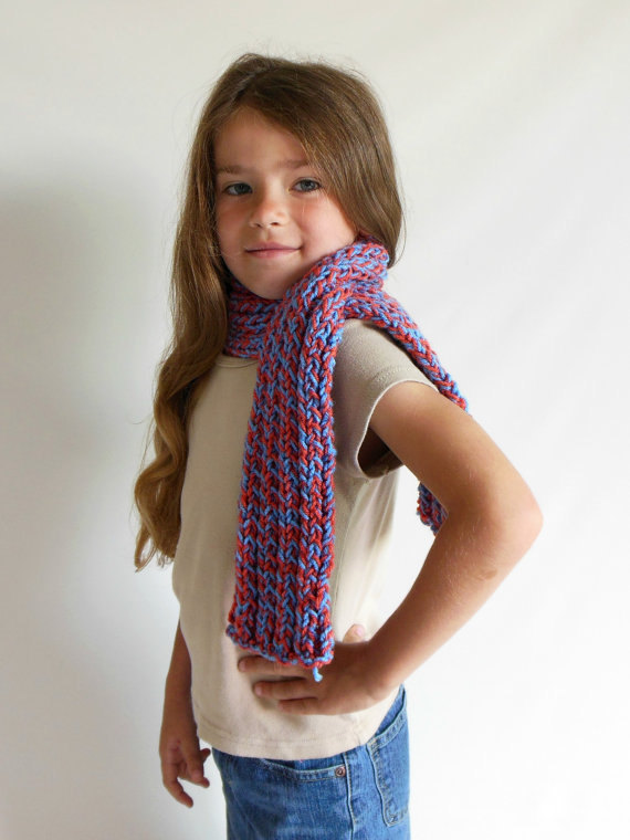 OOAK Ribbed Double Knit Scarf in Toddler/Child Size Red & Blue