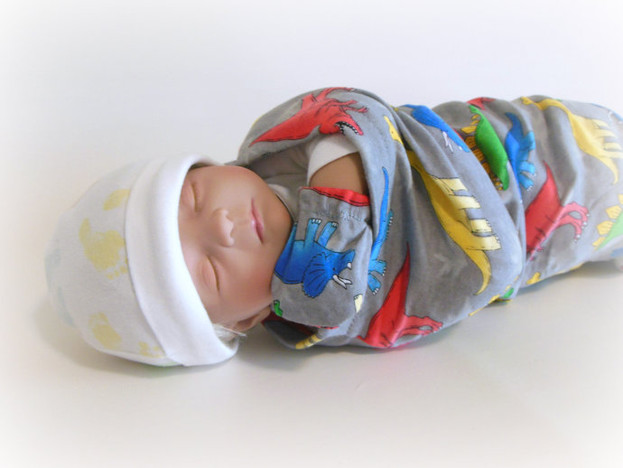 Swaddle Sack, Sleep Sack, Cocoon, Blanket & Scratch Mittens in Dinosaurs