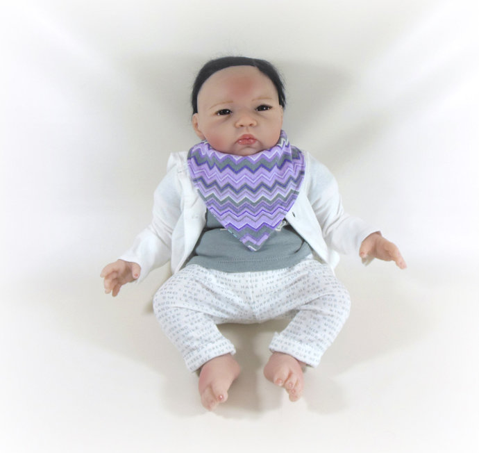 Reversible Infant Bandanna Bib, Bandanna Scarf, Drool Bib in Purple Flowers and