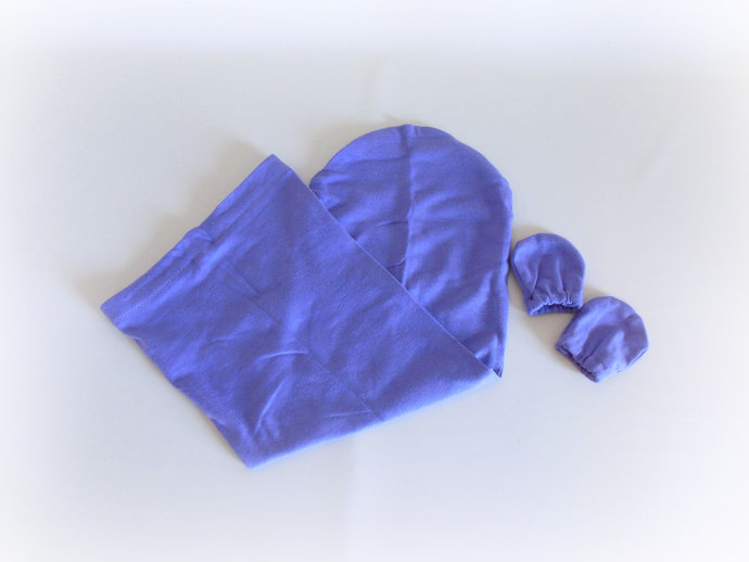Swaddle Sack, Sleep Sack, Cocoon, Blanket & Scratch Mittens in Solid Purple