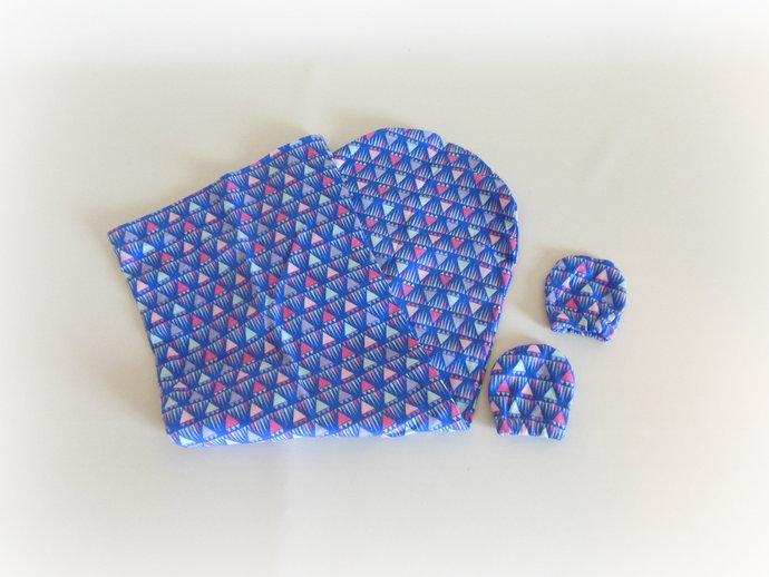 Swaddle Sack, Sleep Sack, Cocoon, Blanket & Scratch Mittens in Purple Geometric
