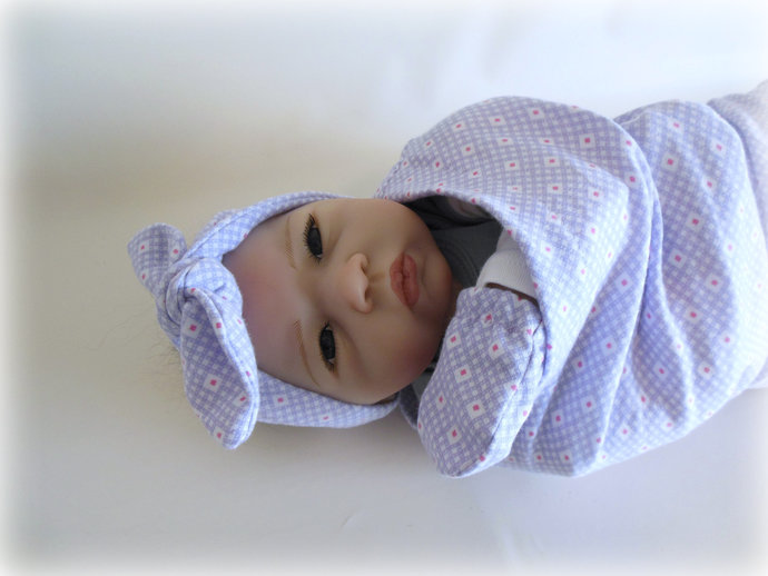 Purple and Pink Swaddle Sack, Purple Baby Scratch Mittens, & Purple and Pink Tie