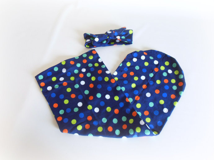 Swaddle Sack & Tie Knot Headband in Navy and Polka Dots