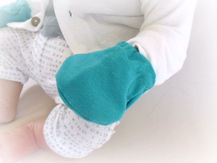 Swaddle Sack, Scratch Mittens, & Tie Knot Headband in Solid Teal