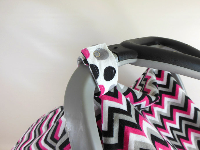 Pink Black Chevrons and Polka Dots Car Seat Canopy, Pink Black Chevron Car Seat
