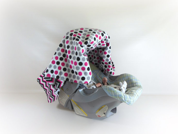 WINTER SALE 25% OFF Pink Black Chevrons and Polka Dots Car Seat Canopy, Pink