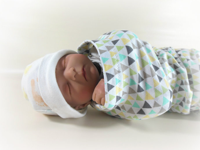 Swaddle Sack & Tie Knot Headband in Geometric Triangles