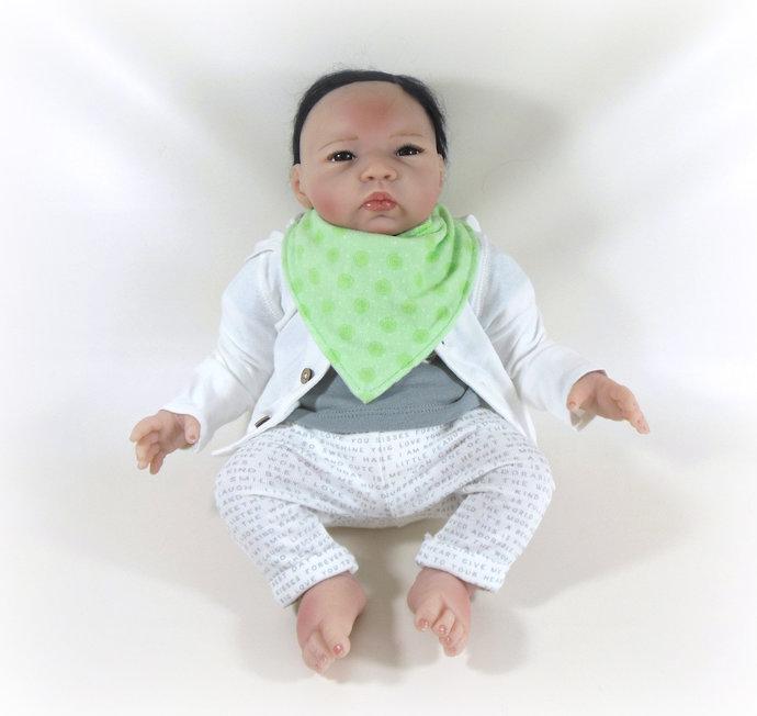 Reversible Infant Bandanna Bib, Bandanna Scarf, Drool Bib in Chevrons & Green