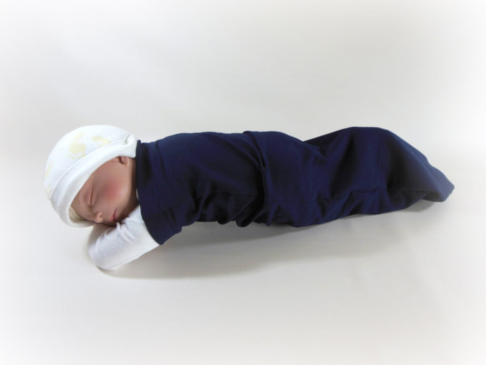 Swaddle Sack, Sleep Sack, Cocoon, Blanket, Wrap in Navy