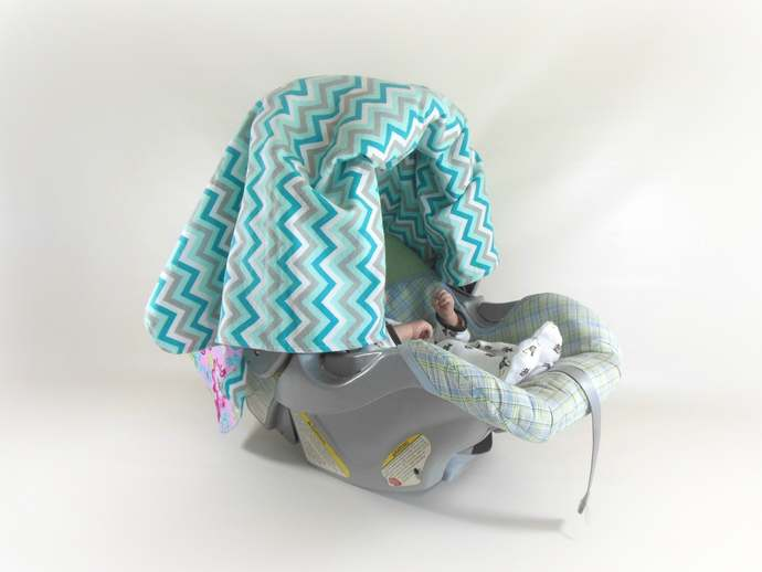 Car Seat Canopy, Cart Cover, Play Blanket in Flowers and Turquoise Chevrons