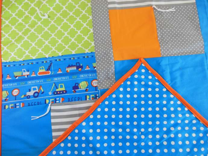 OOAK Construction Equipment Crib Quilt, Construction Equipment Baby Quilt,