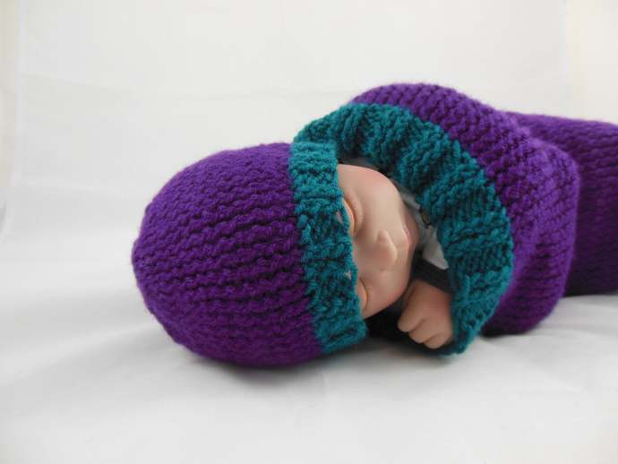 Knit Beanie Infant Size in Purple & Teal