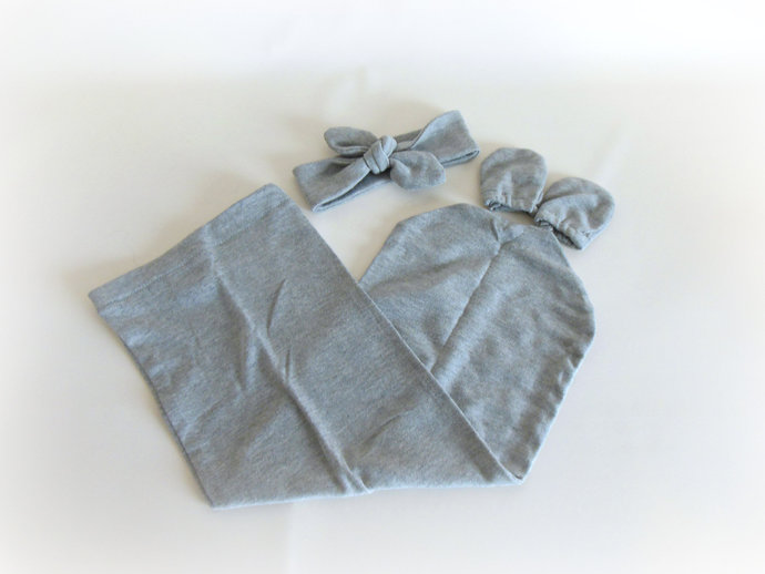 Swaddle Sack, Scratch Mittens, & Tie Knot Headband in Solid Gray
