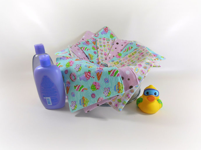 2 Ply Sweet Treats Flannel Cloth Wipes, Cupcake Washcloths, Cupcake Burp Cloths,