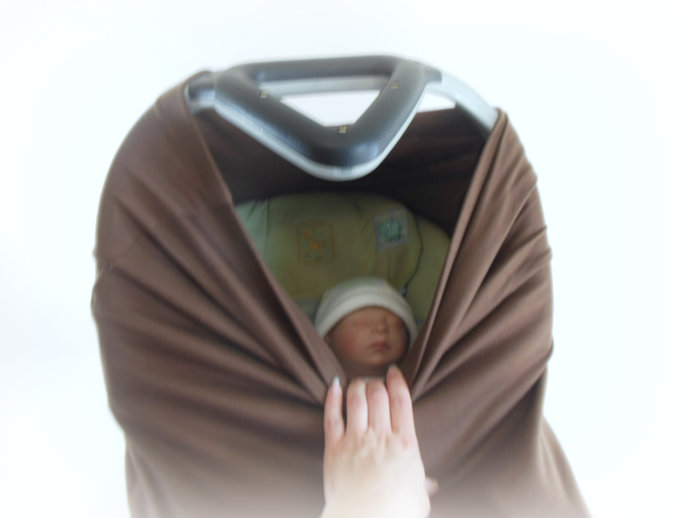 4 in 1 Car Seat Canopy, Nursing Cover, Cart Cover, High Chair Cover in Brown