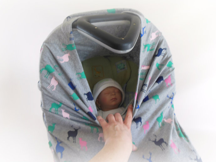 4 in 1 Car Seat Canopy, Nursing Cover, Cart Cover, High Chair Cover in Deer