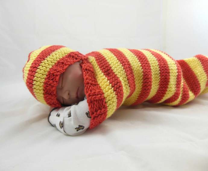 Cocoon, Sleep Sack, Sleep Bag, Blanket and Hat in Orange & Yellow Stripes