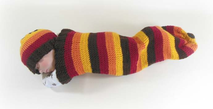 Fall Stripes Knit Baby Cocoon, Fall Stripes Baby Sleep Sack, Fall Stripes Knit