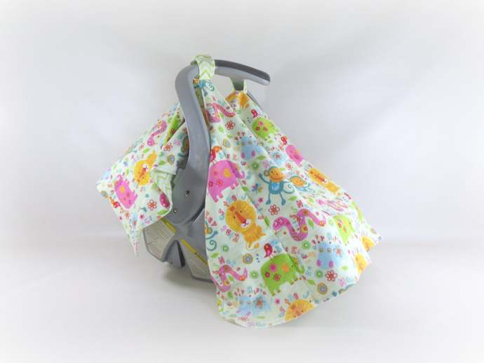 Car Seat Canopy, Car Seat Cover, Cart Cover, Play Blanket in Zoo Animals and