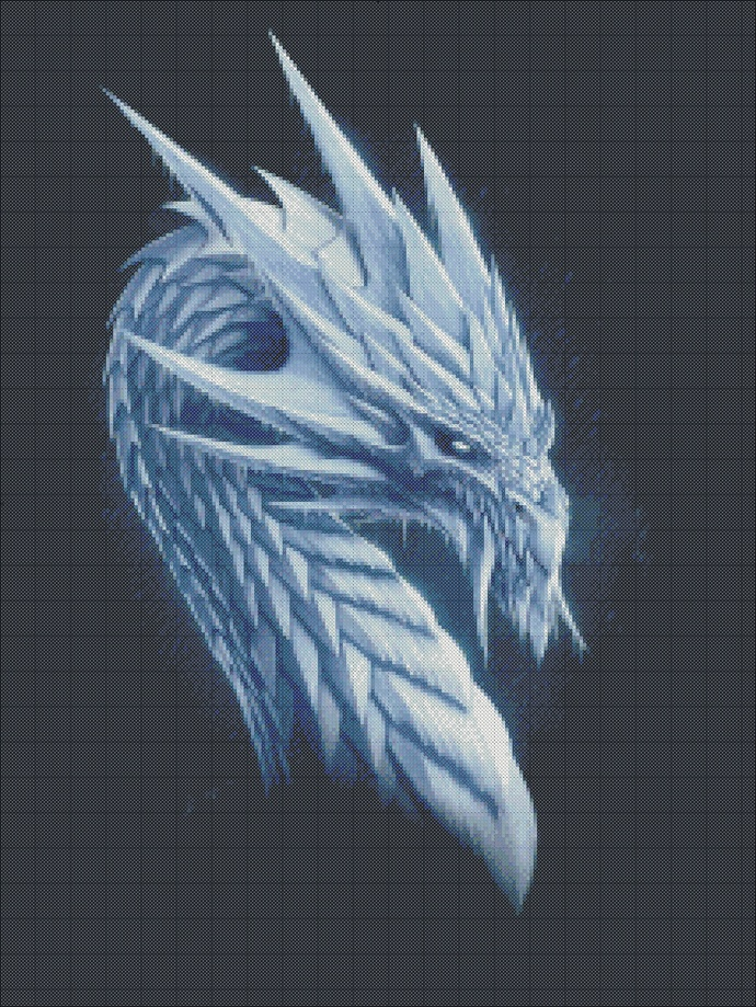 Ice dragon cross stitch, dragon pattern for embroidery,white dragon,  embroidery