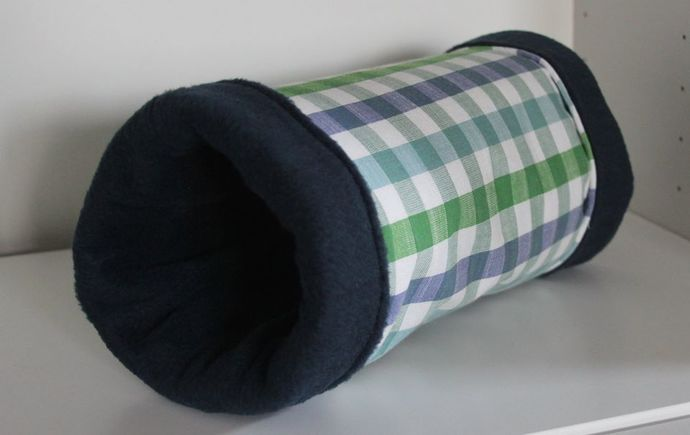 Reinforced Guinea Pig, Kitten, Hedgehog Tunnel - Blue and Green Picnic Plaid