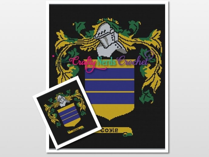 Coyle Coat Of Arms Pattern Graph With Single Crochet Written