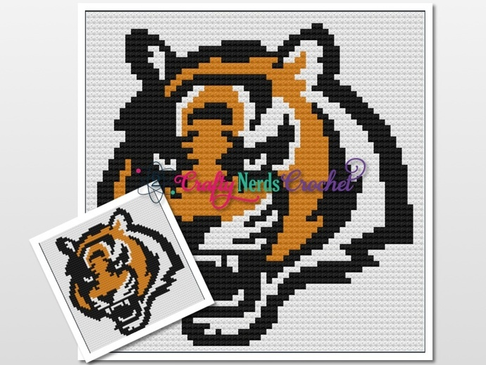 Bengal Tiger Pattern Graph With C2C and Single Crochet Written
