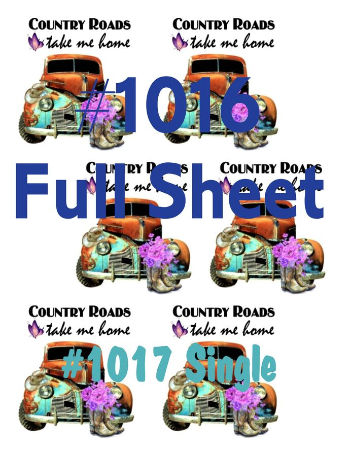 Waterslides Country Roads #1016 - #1017 Laser Printed