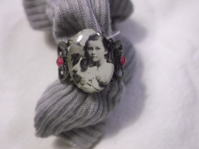 Little girl and dog portrait resin covered on base metal filigree ring base