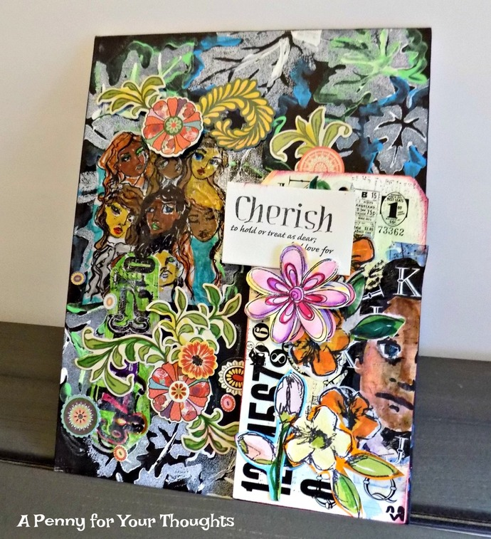 Cherish Defined Original Mixed Media Canvas Covered Panel. Ready to Ship