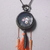 Watch casing necklace paisley print pendant inside with orange tassel, metal