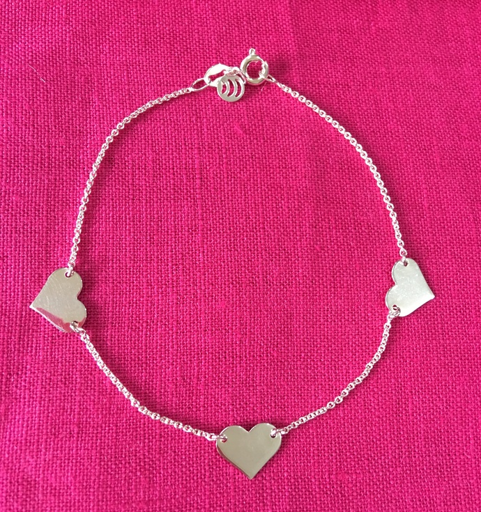 925 Sterling Silver Three Heart Dainty Chain Bracelet Gift for her Girlfriend