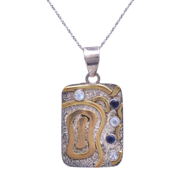 925 Sterling Silver Rainbow Moonstone,Kyanite Gemstone Pendant, Kyanite