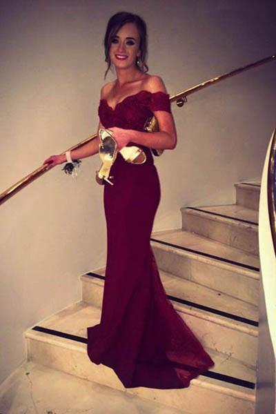 off the shoulder Burgundy evening dresses long mermaid lace appliqué beaded