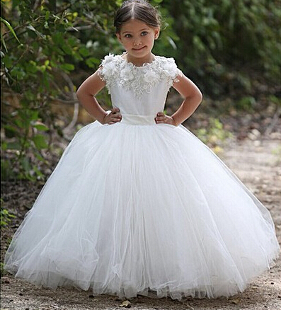 white flower girl dresses for weddings 3d flowers lace appliqué tulle cheap kids