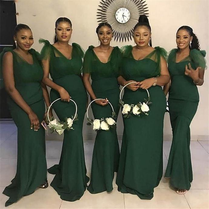 deep green bridesmaid dresses long mermaid v neck elegant satin cheap wedding