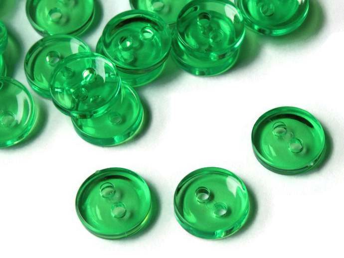 50 11mm Clear Green Buttons Flat Round Plastic Two Hole Buttons Jewelry Making
