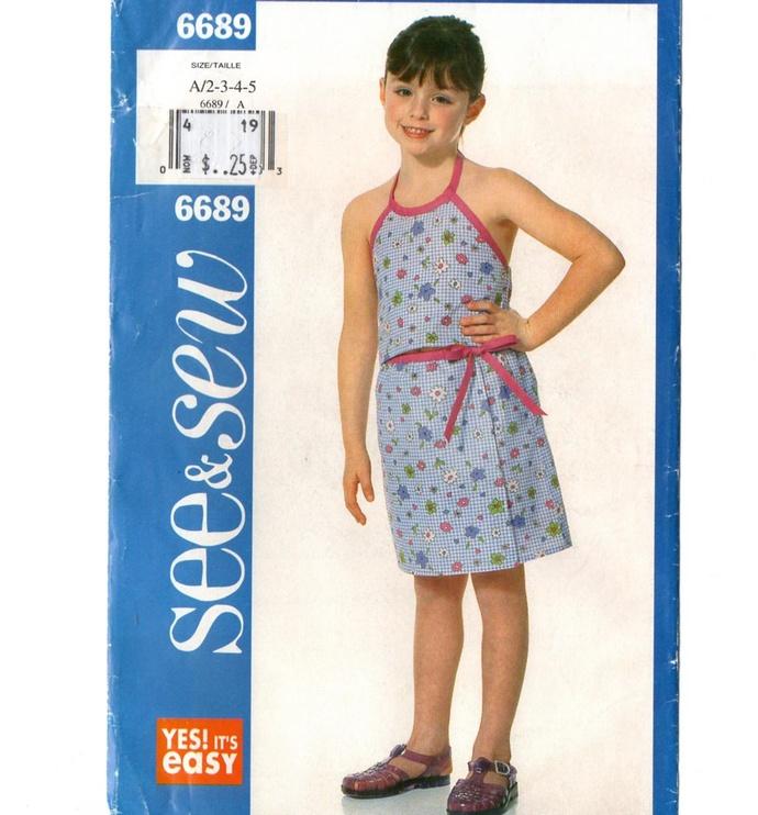 Butterick 6689 Girls Halter Top, Mock Wrap Skirt Vintage Sewing Pattern Uncut