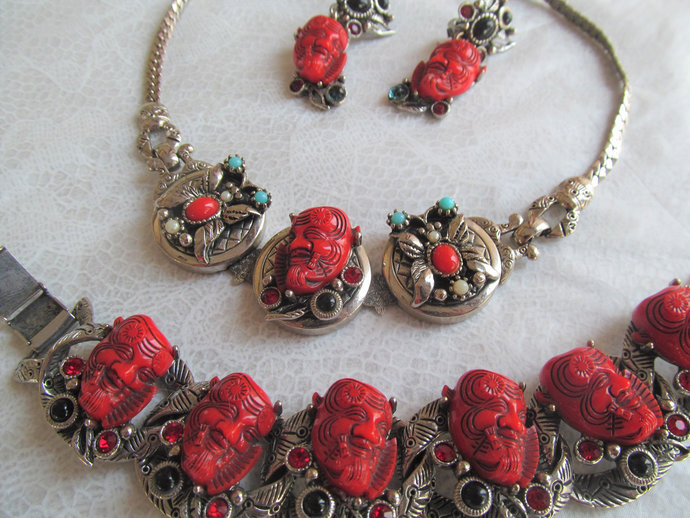 SELRO signed rare vintage Noh OKINA Red Devil full jewelry set from the 1950's