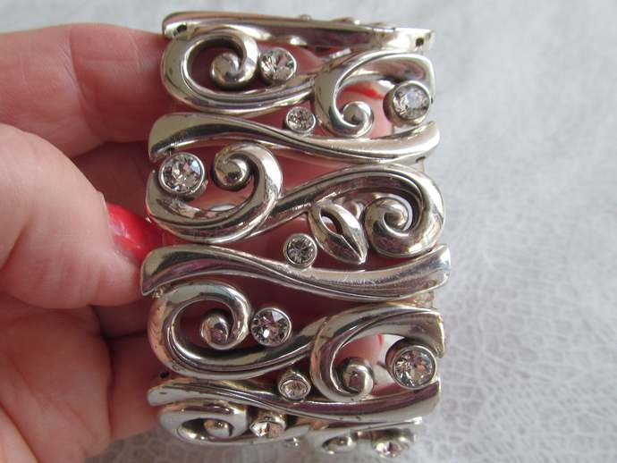 Brighton wide silver colored bracelet with sparkling crystal rhinestones