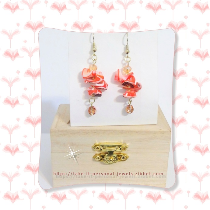 Coral Seashell Crystal Earrings Spring Jewelry Dangle