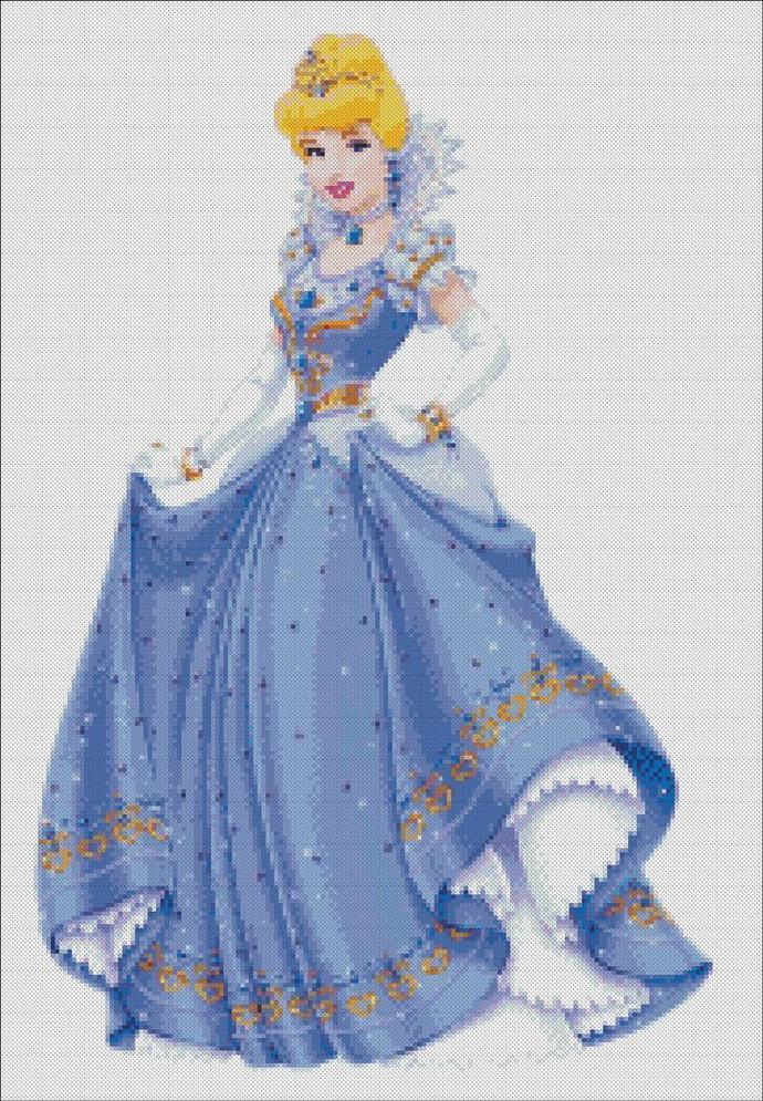 Cinderella cross stitch, disney embroidery PDF, scheme for embroidery