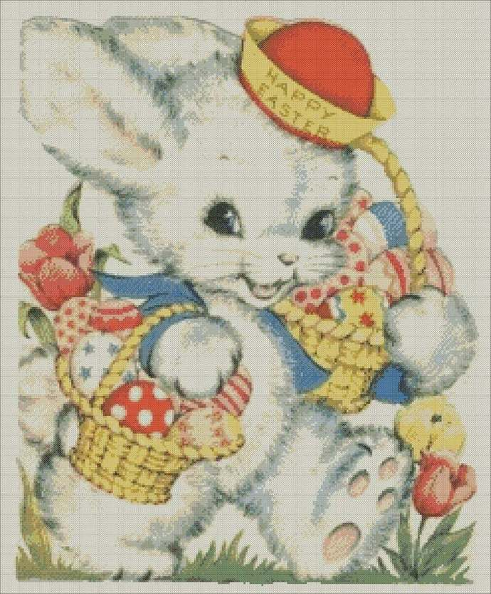 Cross-stitch Easter Bunny,Easter embroidery PDF,Bunny and Easter chart for