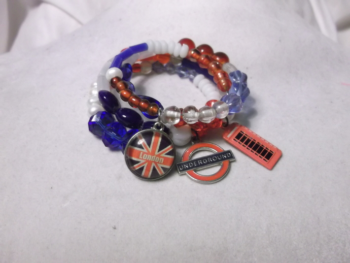 British charms on red, white, and blue beaded memory wire bracelet
