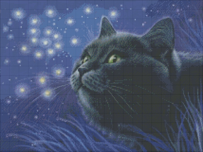 Black cat cross stitch, night embroidery, cat and stars pattern for embroidery,